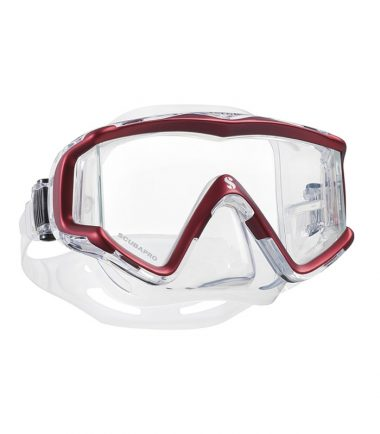 crystal vu red scubapro mask