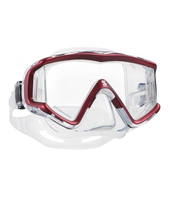 crystal vu red scubapro mask