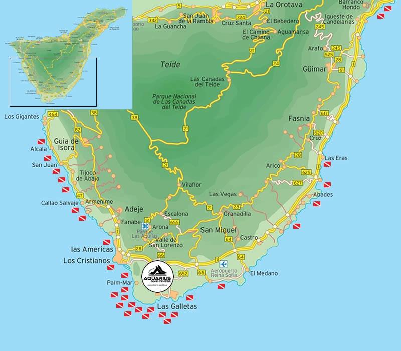 scuba diving dive map tenerife