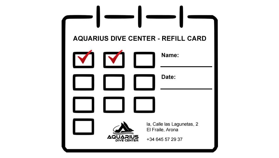 air refill card aquarius dive center