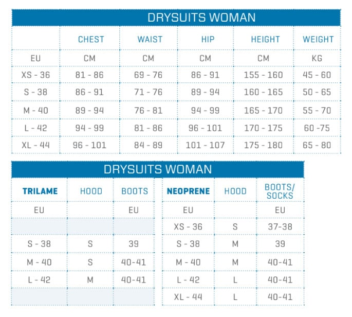 size chart dry suits woman